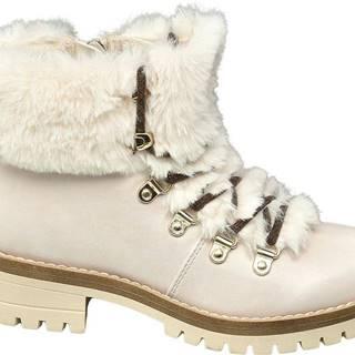 Béžová členková obuv na zips Graceland