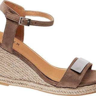 Sivobéžové sandále na klinovom podpätku Mexx