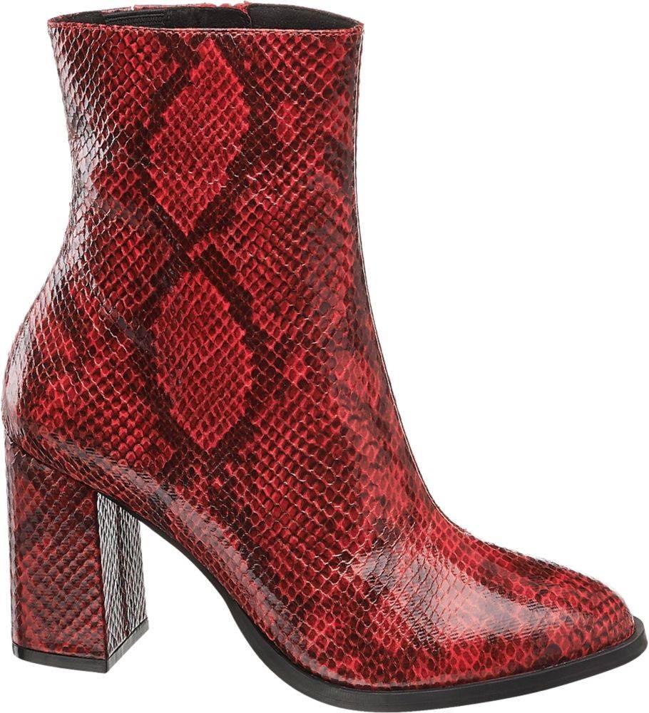 Vero Moda Vero Moda - Červené členkové čižmy so zvieracím vzorom Vero Moda