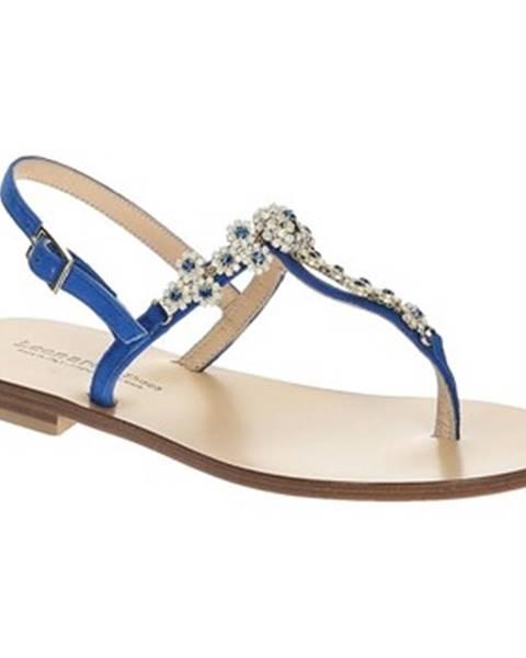 Modré sandále Leonardo Shoes