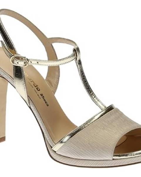 Béžové sandále Leonardo Shoes