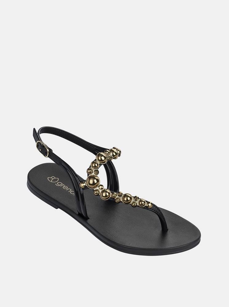 Grendha Čierne sandále s detailmi v zlatej farbe Grendha